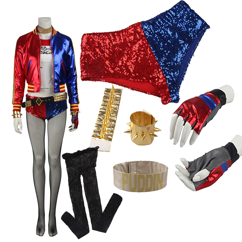 Original Edition Suicide Squad Harley Quinn Joker Cosplay Costume Special Costume High Quality Full Set Any Size For Unisex   クリア バック ショルダー 大人