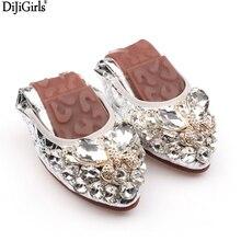 Дамская кожаная модная обувь на плоской подошве серебряного/золотого цвета большая линейка размеров: 35–43 Модная дамская обувь без шнуровки на резиновой подошве Дамская обувь на плоской подошве со стразами