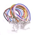Wholesale 10pcs 18cm 3mm mixed Colors Braided PU leather cord/String Bracelet making+Silver Lobster Clasp Jewelry findings New