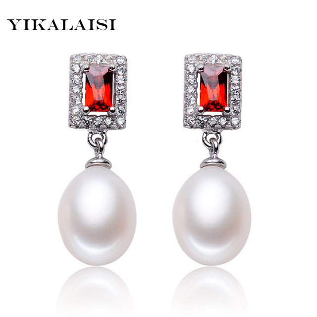 Us 8 58 49 Off Yikalaisi 2017 Pearl Jewelry Earrings For Women 925 Sterling Silver Square Rubine Vintage Style Wedding In