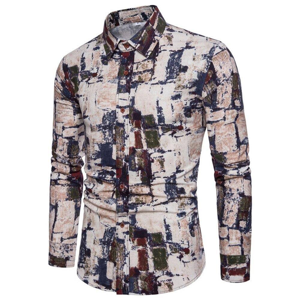 Neuheit Painted Print Shirt Mode Dünne Lange Hülse Männlichen Tops Flut Männer Club Blusa Big Größe 5xl Floral Gedruckt Vintage Shirts