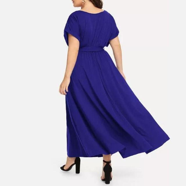 Summer Loose Comfort Large Size Women's Solid Maxi Dress Short Sleeve V-neck Strap Elegant Long Evening Party Dresses Plus Size 3