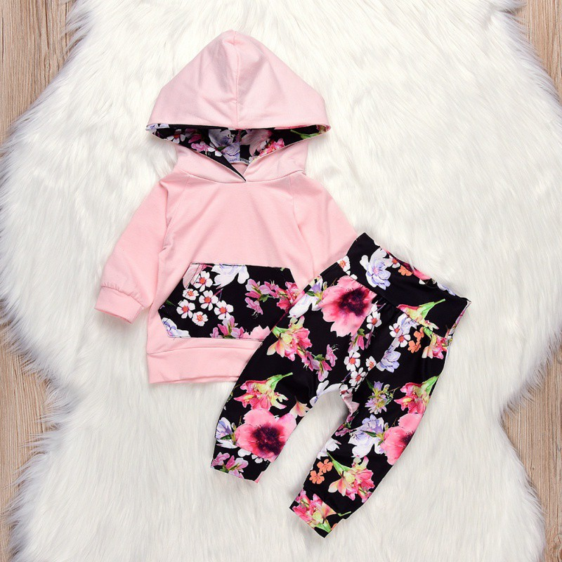 2018 Winter Baby Girls Clothes Printed Floral Girls Pant Sets Newborn Infant Girls Clothes Hooded Tops T-shirt+Floral Pants Set