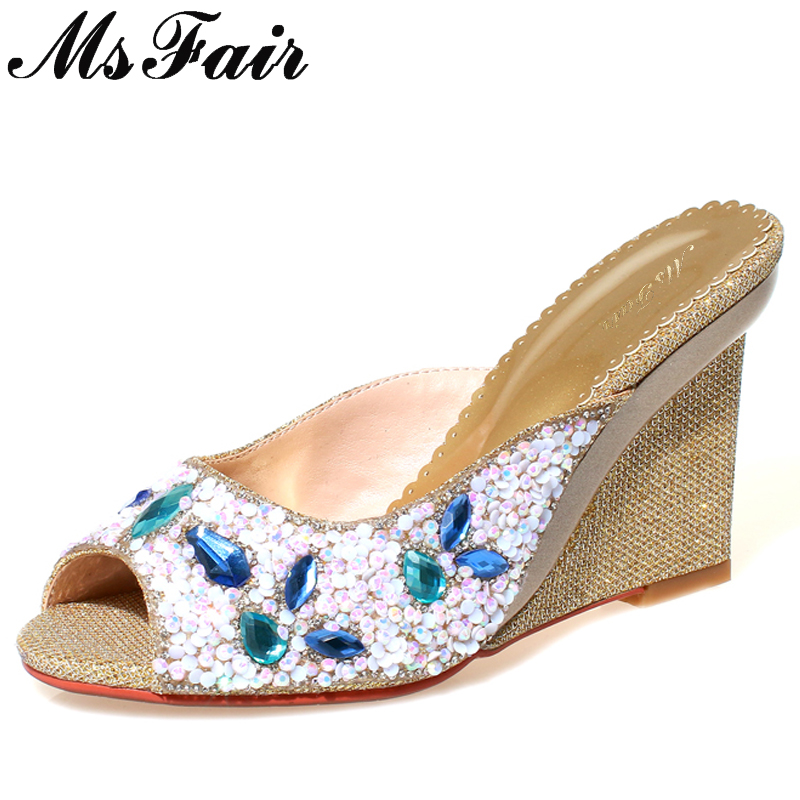 MsFair Wedges Peep Toe Sandals Women Fashion Crystal High Heels Sandals Women Shoes Zapatos Mujer Sandales Femme 2018 Nouveau