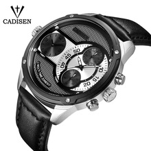 Top Brand Stainless steel Big dial Watches Mens Classic Designer 2 Quartz Movement Watch Male Leather Strap Wrist CADISEN
