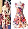 2016 Европейский последние летние элегантные дамы моды большие ярдов платье жилет качество печати шифона платье вскользь офис платье G1316