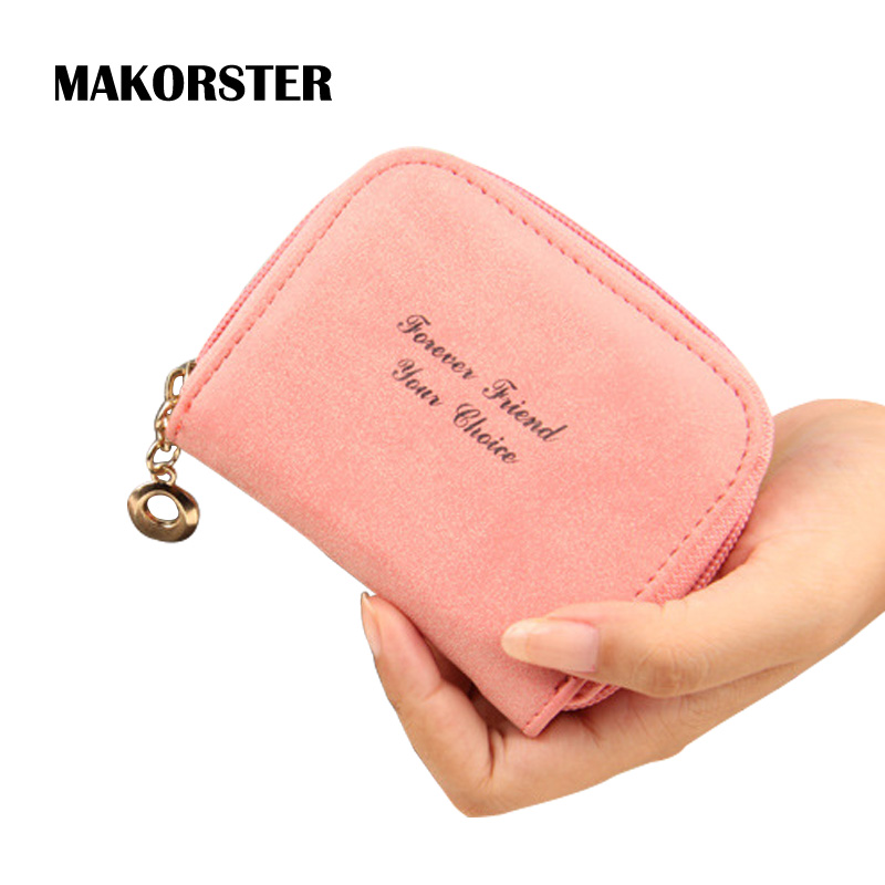 MAKORSTER Fashion Mini Short Wallet for Girls PU Leather Wallets and purses female coin holders luxury brand portefeuille femme 2017 new ladies purses in europe and america long wallet female cards holders cartoon cat pu wallet coin purses girl