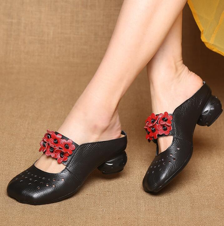 Spring Summer Thick Heels Slippers Genuine Leather Women Shoes Handmade Closed Toe soft Comfortable Women Slides Sandals anckle strip women thick heels sandals closed toe flower ethnic style handmade genuine leather personalized women sandal