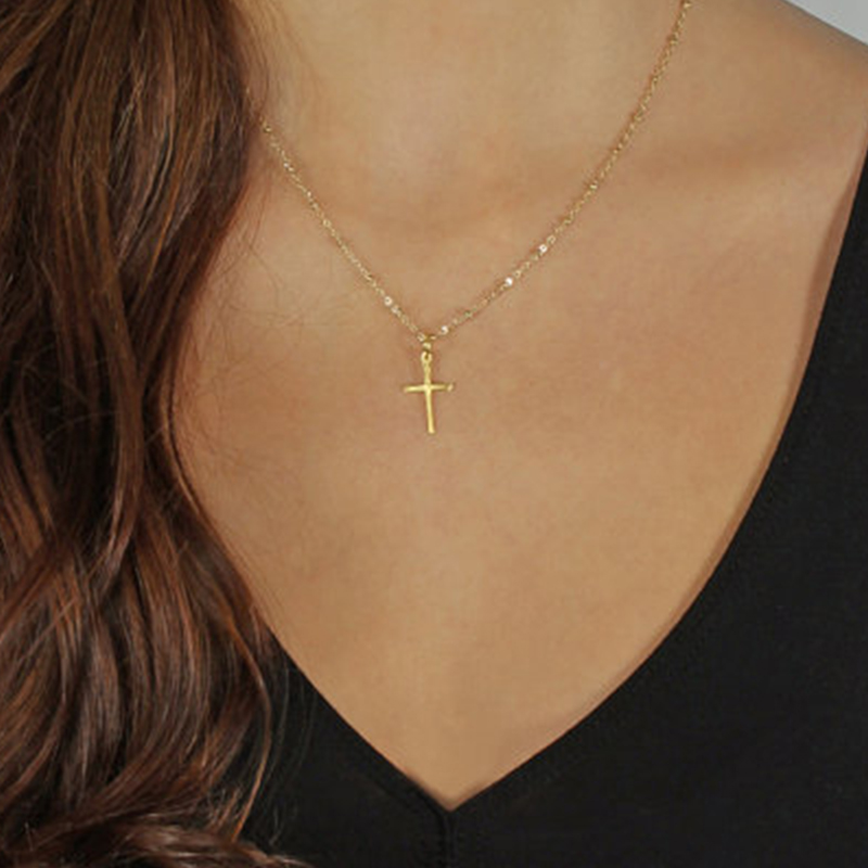 gold chain cross necklace small gold cross religious. Black Bedroom Furniture Sets. Home Design Ideas