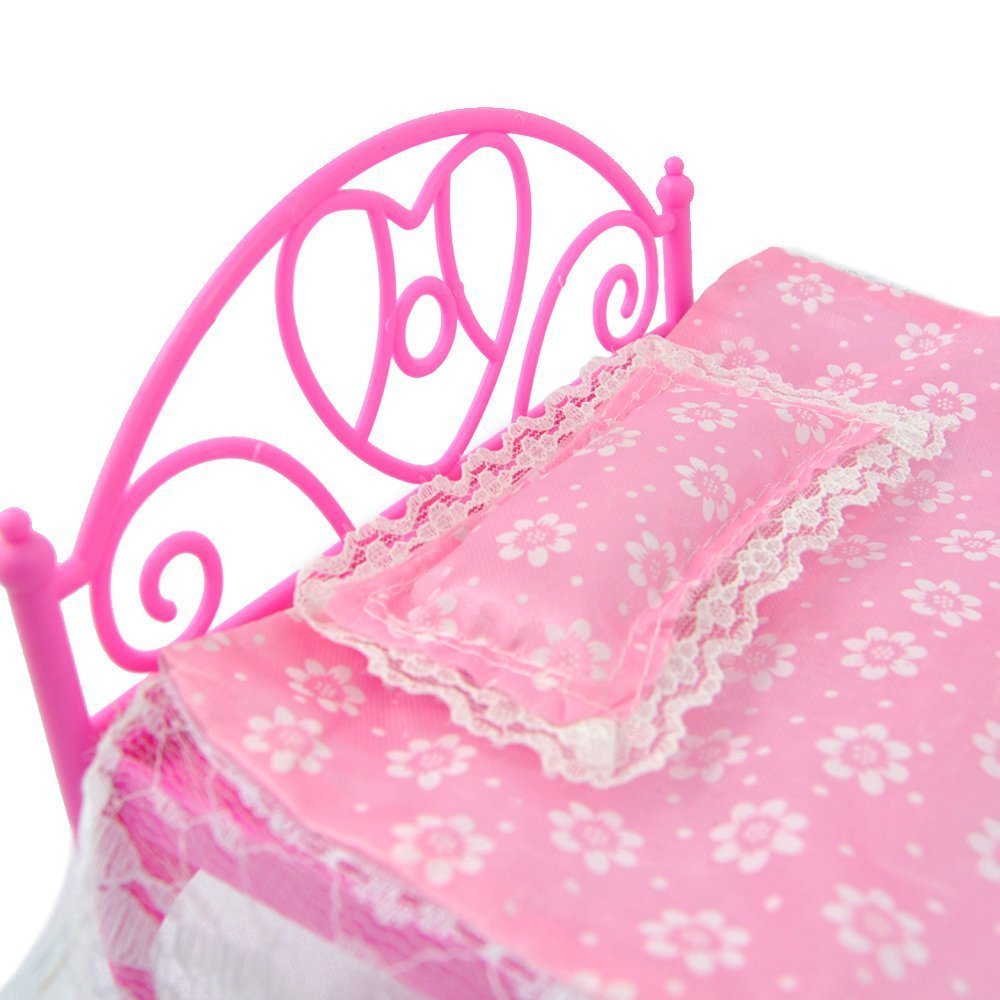 rctown roze mini bed met kussen voor barbie poppen poppenhuis slaapkamer meubels speelgoed voor kinderen gift zk15 in rctown roze mini bed met kussen voor