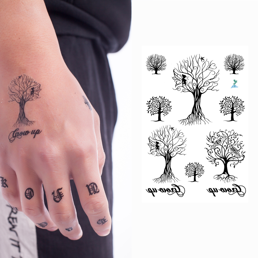 Yeeech Tatuajes Temporales Pegatina Crecer árbol Negro Diseños