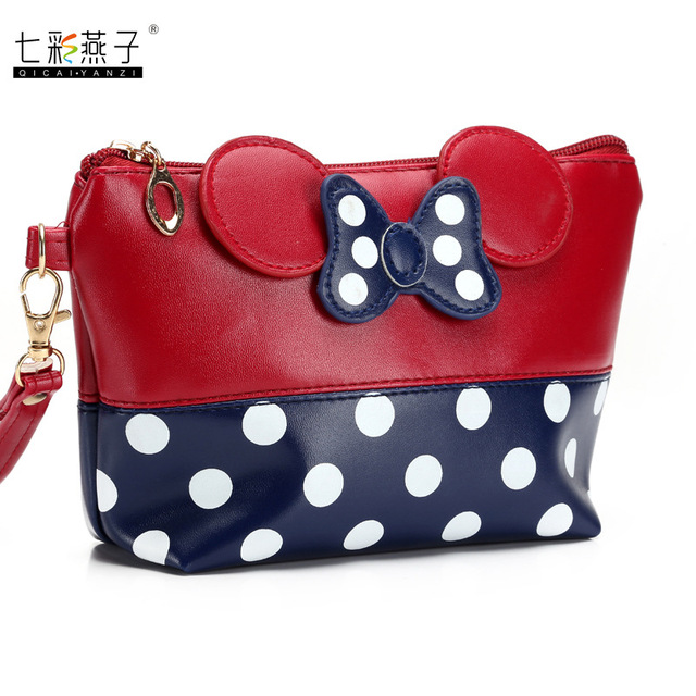 mickey minnie Cosmetic Bags Women Makeup Bag New Cartoon Large Bow tie clutch Women Packages PU Leather Bag