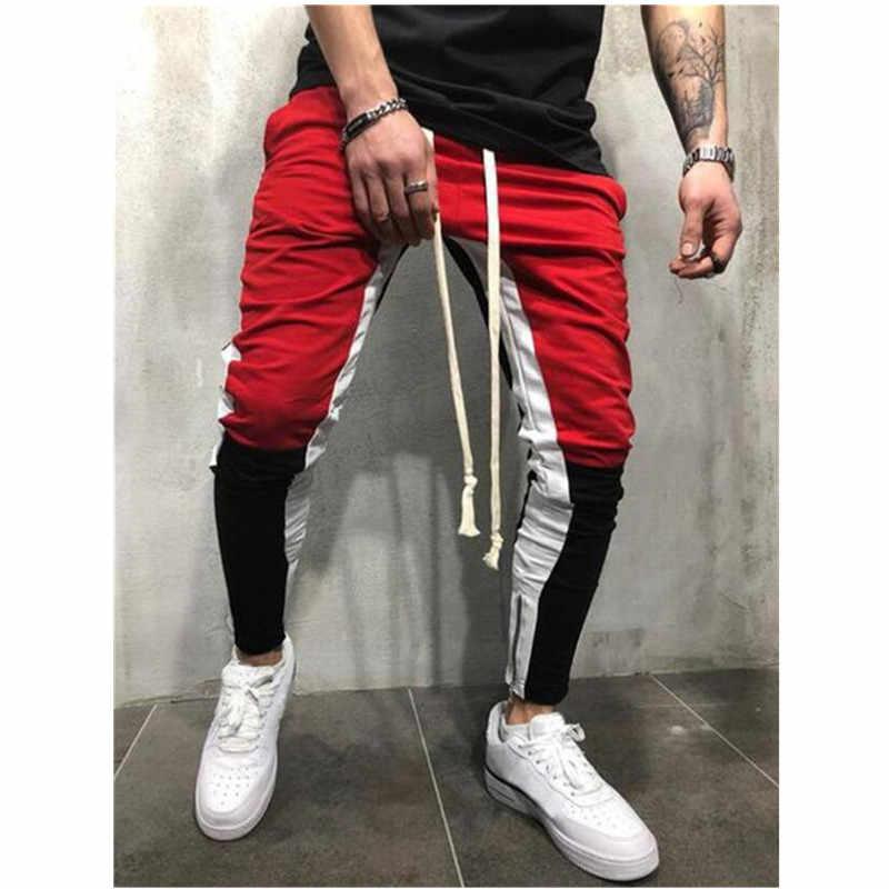 Erkekler patchwork pantolon fermuar kalem pantolon günlük pantolon erkekler joggers sweatpants elastik bel pamuk erkek pantolon hip hop pantolon