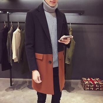 Patchwork Woolen Overcoat Mid Long Trench Coat Men Chaqueta Invierno Hombre Contrast Trench Coat Desinger Outwear Party Club
