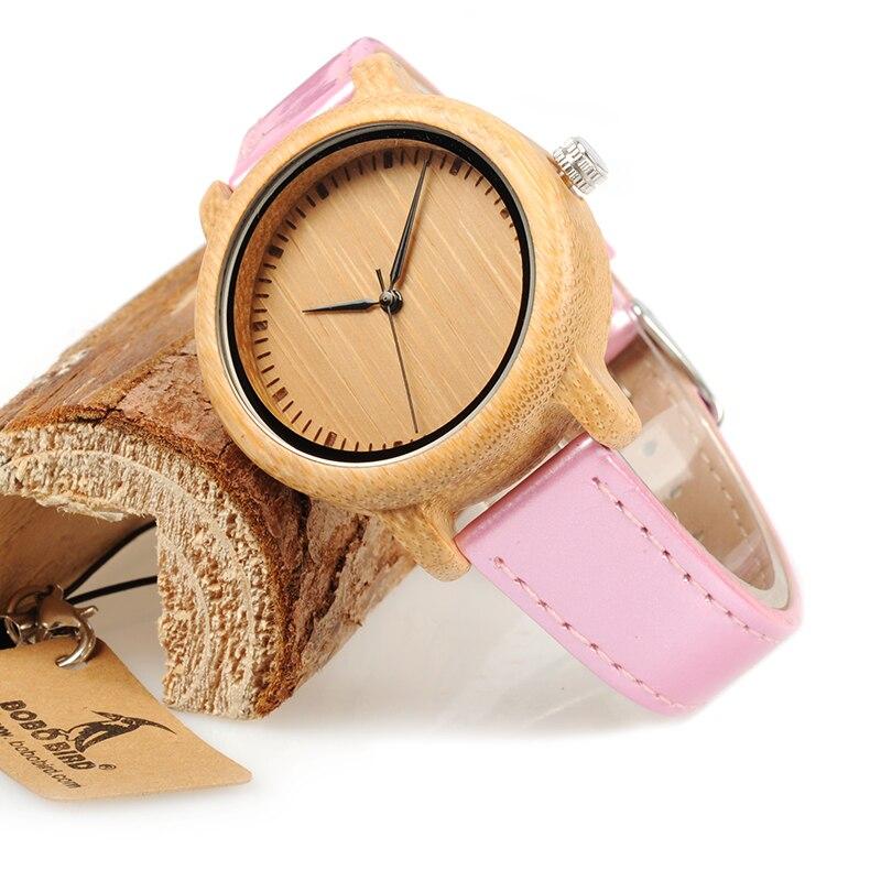 Bobo Vogel Wj08 Bambus Uhr Fur Frauen Einfache Rosa Pu Lederband