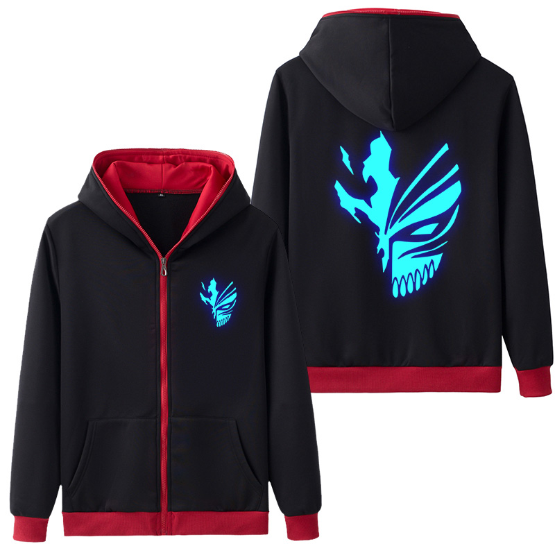 Anime Bleach Kurosaki Ichigo Hooded Adult Hoodie Zipper Hoodies & Sweatshirts Luminous Coat Outer Wear Hoody Five Color