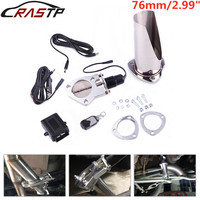 RASTP 2.99 Cutout Stainless Steel Exhaust Cut Out Header Cut Pipe Electric Valve Exhaust Tip Muffler Kit RS BOV028