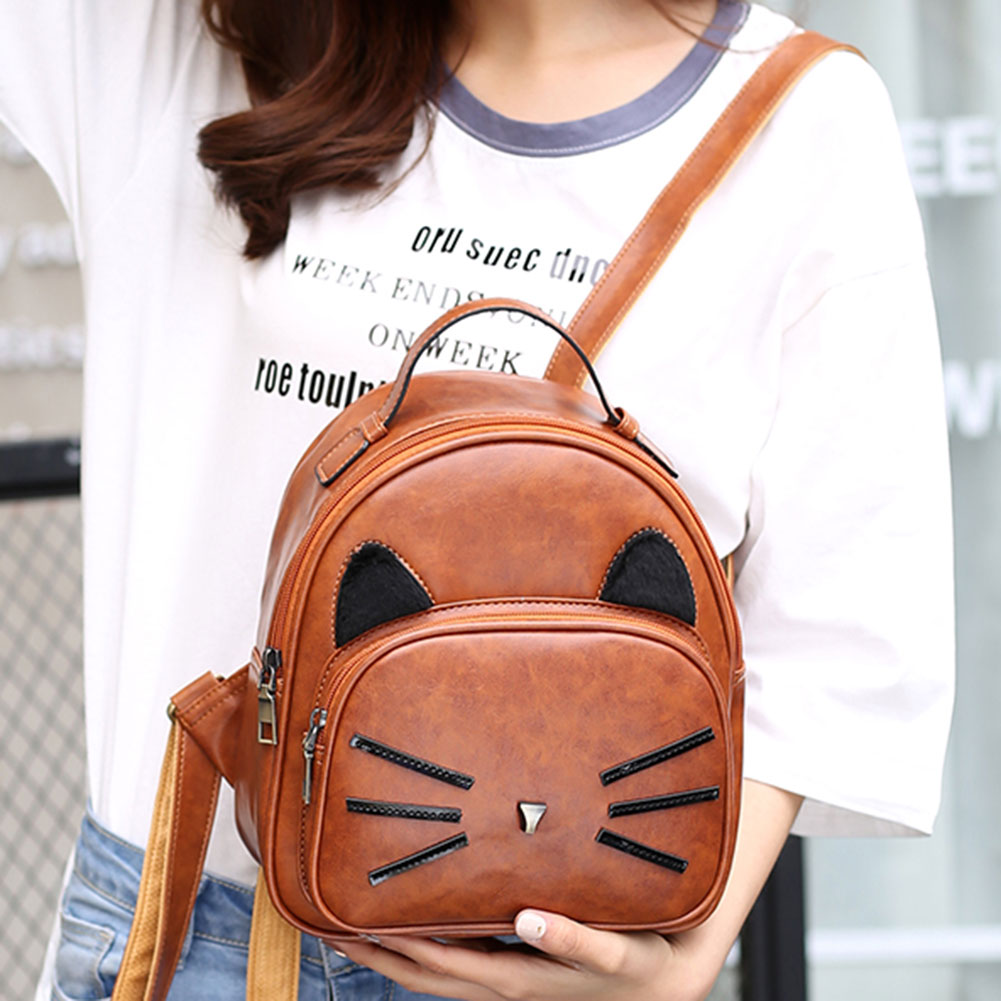 Design Pu Leather Backpack Women For Teenage Girls School Lady's Small Vintage Cat Back Pack Travel Bags #5