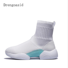 New Breathable Sneakers Women Knit Upper Sport Shoes  Chunky High Top Running For