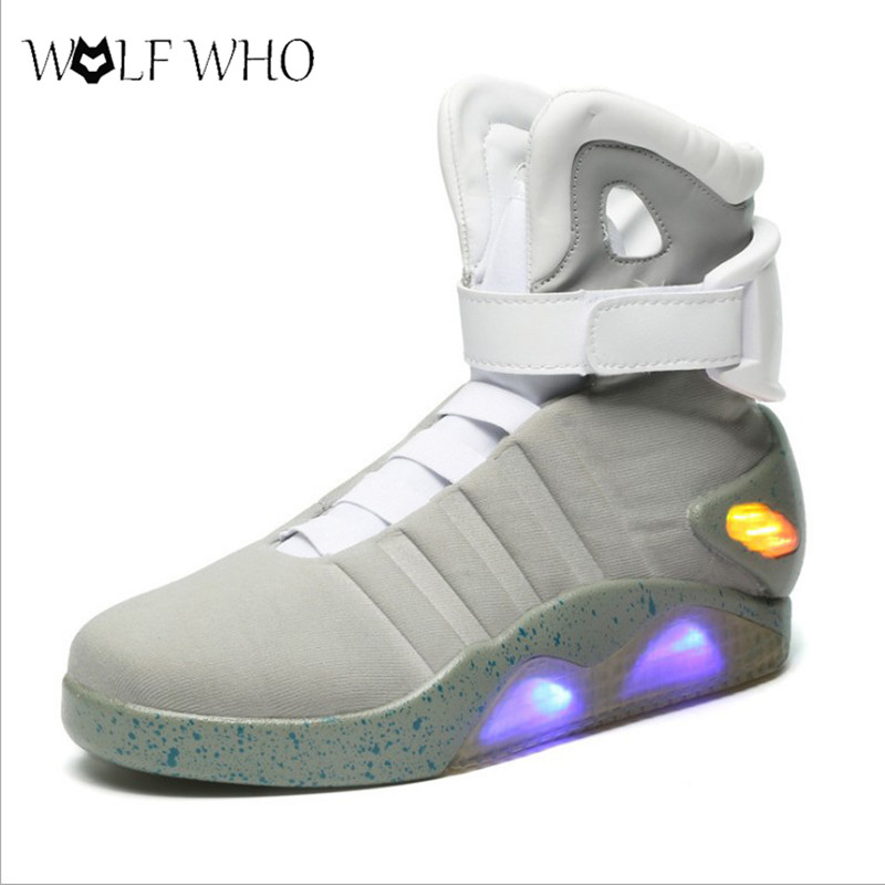 Wolfwho Назад в будущее светящиеся Мужская обувь солдат Ботильоны Ограниченная серия со светодиодной подсветкой мужская обувь