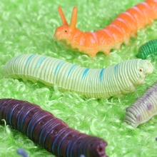 2017 New 12Pcs Twisty Worm Realistic Fake Caterpillar Insect Educational Trick Toy Plastic