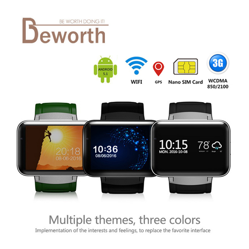 DM98 Bluetooth Smart Watch Android 4.4 3G MTK6572 Dual Core 1.2GHz 4GB ROM WCDMA WiFi GPS 2.2inch IPS HD Screen Smartwatch Phone z15 dual core wcdma smart wrist watch phone w 1 54 screen bluetooth 4gb rom wi fi gps black