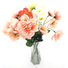 3pcs Artificial poppy flower Real touch Silk cloth flowers Wedding bridal bouquet Home party festive decorations цена