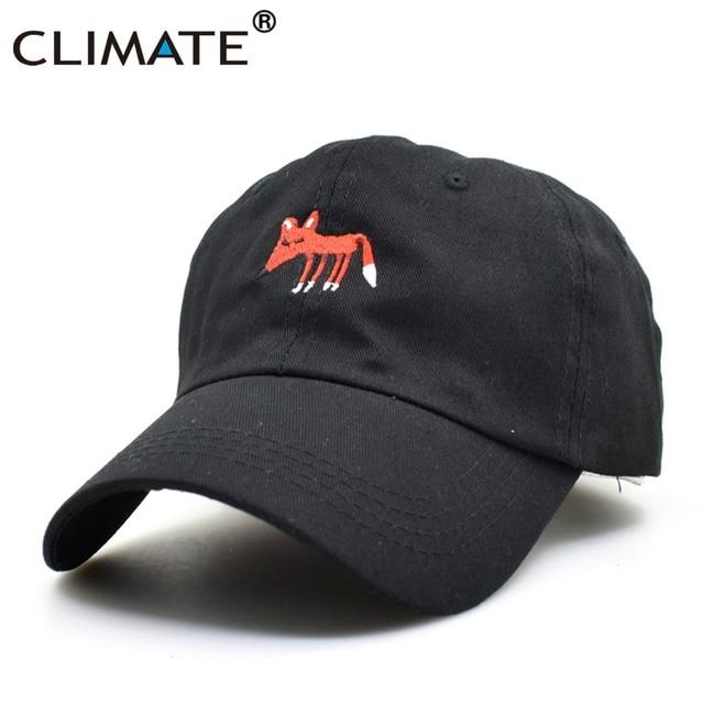 CLIMATE Fox Cap Men Dad Hat Fox Baseball Caps Hat Black Dad Caps Rock Music  Fans Cool Cotton Baseball Trucker Caps Hat For men 8805c40a59e