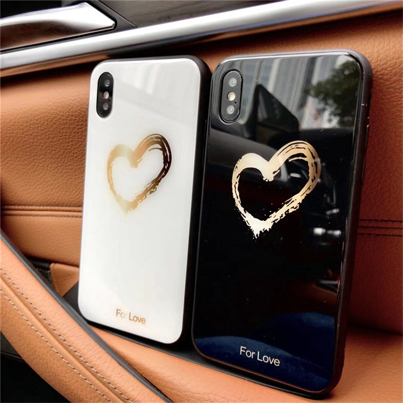BONVAN Tempered Glass Case For iPhone X Lovely Heart Hard Back Cover Soft Silicone Bumper For iPhone 7 6S 8 Plus 6 Plus Cases01