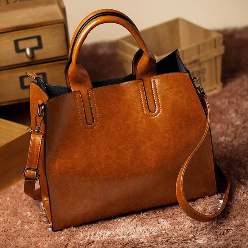 Brown Smooth PU Synthetic Leather Handbags  Women Shoulder Bag brand designer Vintage Cross body Bag Women Messenger Bags