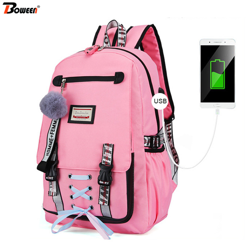 Pink Canvas Backpack Women School Bags for Teenage Girls Preppy Style Large Capacity USB Back Pack Pink Canvas Backpack Women School Bags for Teenage Girls Preppy Style Large Capacity USB Back Pack Rucksack Youth Bagpack 2019