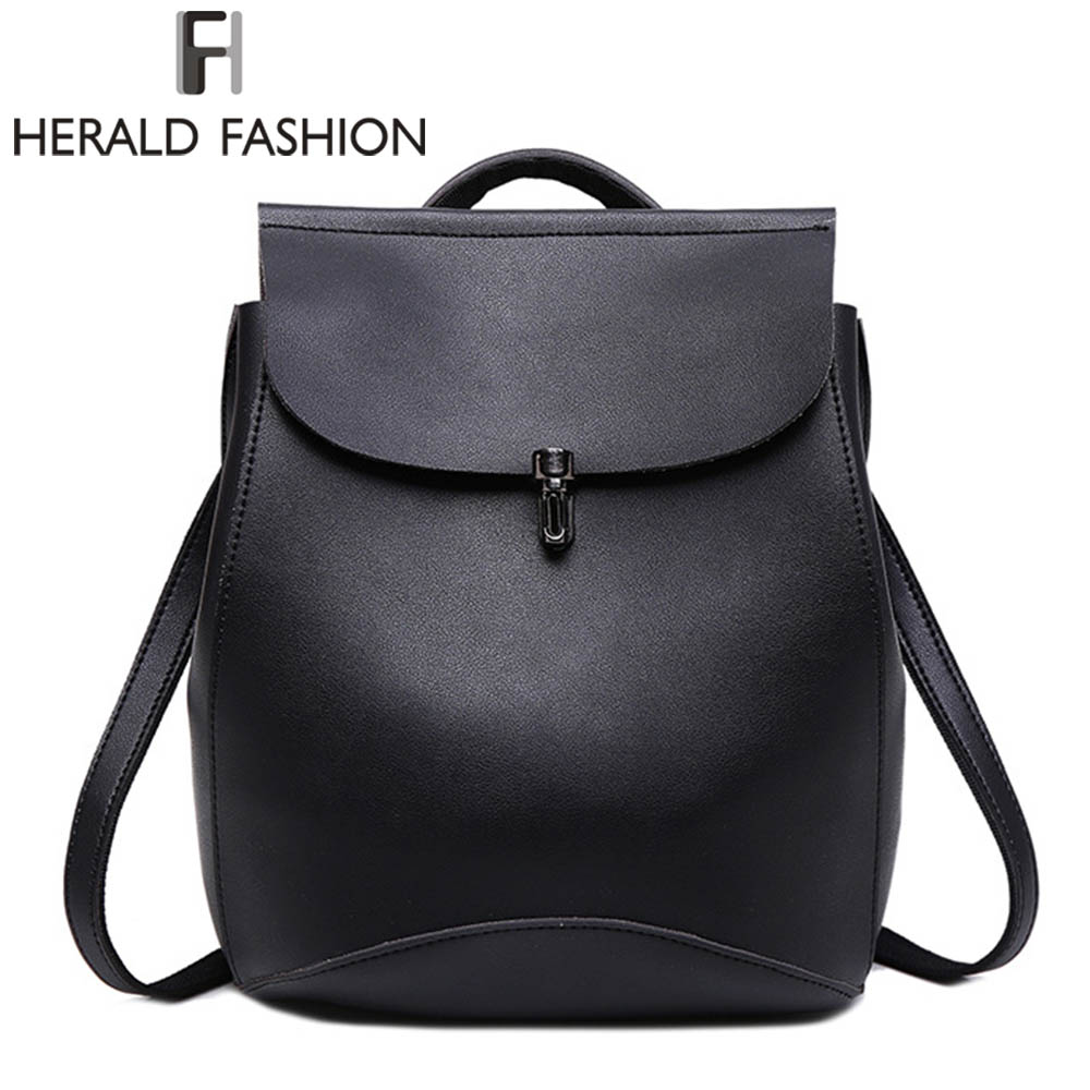 Herald Fashion 2017 Women Backpack High Quality Youth Leather Backpacks for Teenage Girls School Bags Small Vintage mochila 100%real leather backpack youth school bags for girls backpacks fashion design high quality women backpack bag mochila feminina