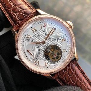 Image 4 - יוקרה ST8004 Tourbillon שעון גברים תנין עור לוח שנה תצוגת שבוע Mens יד Winding מכאני שעונים 5ATM עמיד למים