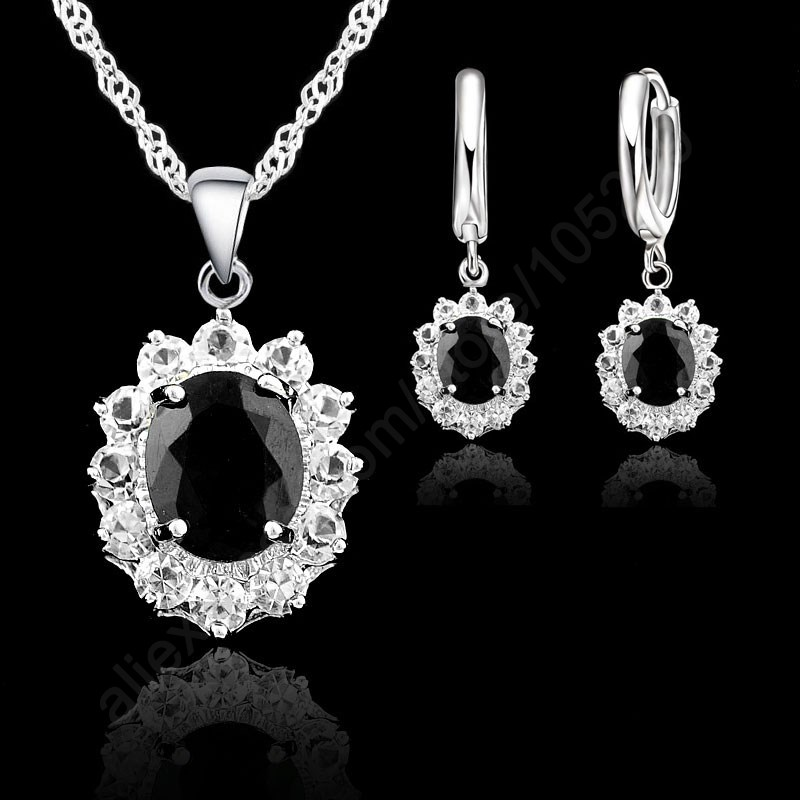 Black Oval Crystal Jewelry Sets 925 Sterling Silver Pendant Necklace+Hoop Earring Princess Wedding Engagement For Women
