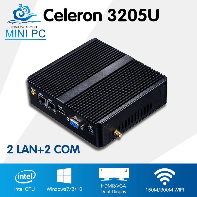 Mini Desktop Computer Celeron 3205U Mini PC High Quality Win 10/8/7 Linux 2*Lan Mini Computador Wifi HTPC TV box 2*Com dc 12v desktop pc win 7 win 8 win 10 linux kingdel mini industrial pc with celeron 1037u processor x86 mini pc dual lan