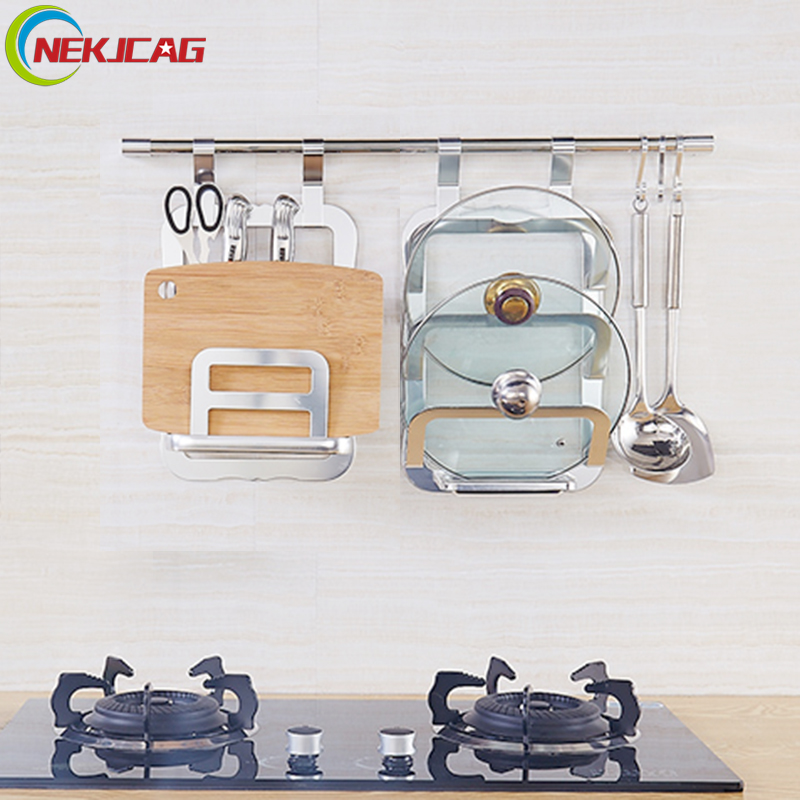 цена Wall Mounted Kitchen Racks Chrome Finish Iron Pot Storage Holder Rack Cutting Board Storage Rack Shelf