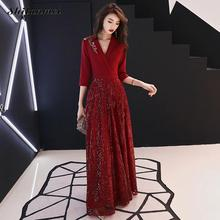 2019 Evening Party Dress Women Red Embroidery Retro Vintage Chic Sequin Deep V Long Maxi Sexy Robe Femme Vestidos