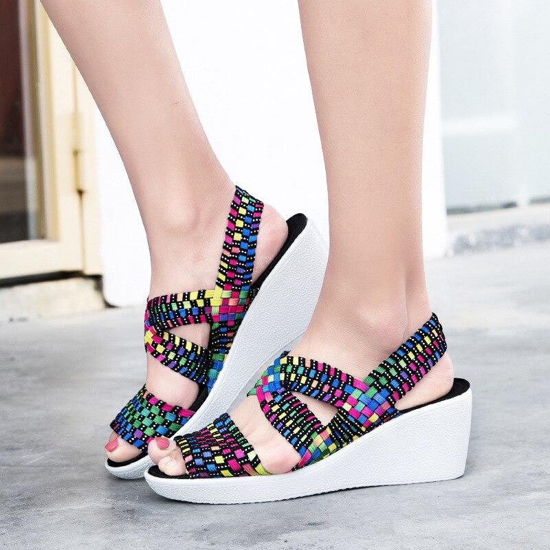 Sommer Plattform Sandalen 2020 Mode Frauen Sandale Keile Schuhe Casual Frau Peep Toe Schwarz Plattform Sandalen