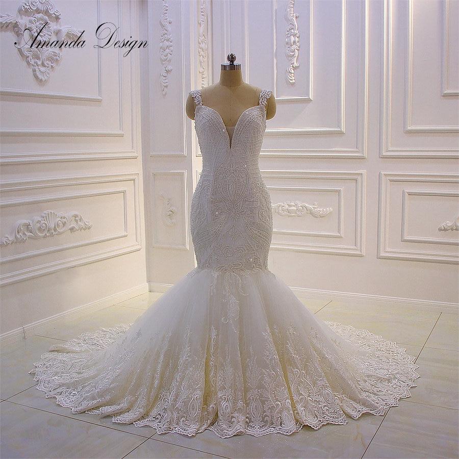 Amanda Design robe de mariee grande taille Cap Sleeve Lace Appliques Pearls Mermaid Wedding Dress