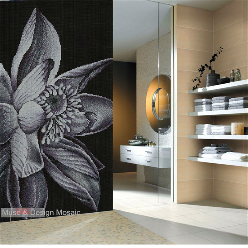 Customized Lotus Flower Puzzle Art Crystal Glass Mosaic Tiles For