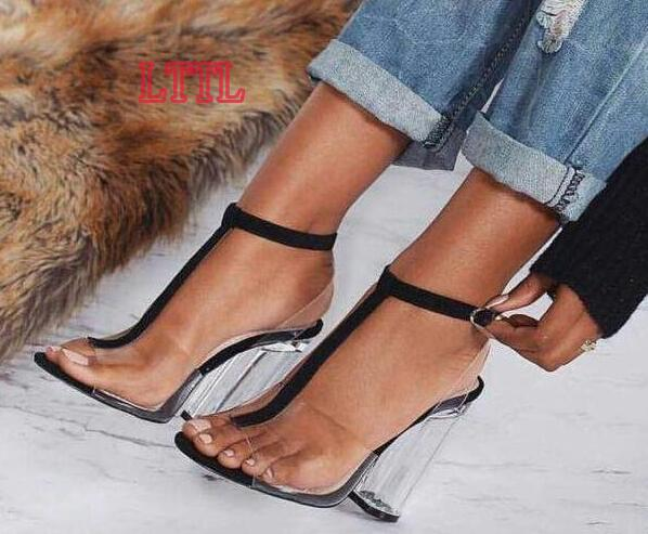 ФОТО Newest PVC Women Sandals Sexy T-strap Clear Transparent Gladiator Sandals 2017 Women Peep Toe Ankle Strap High Heels
