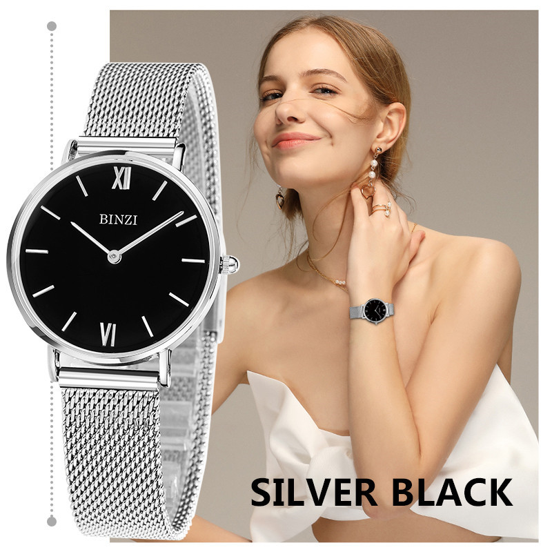 BINZI Slim Sliver Mesh Stainless Steel Watches Women Top Brand Luxury Casual Clock Ladies Wrist Watch Lady Relogio Feminino