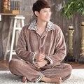 Más el tamaño de franela conjuntos de pijamas primavera otoño invierno gruesa de coral polar ropa de noche masculina de manga larga salón camisón