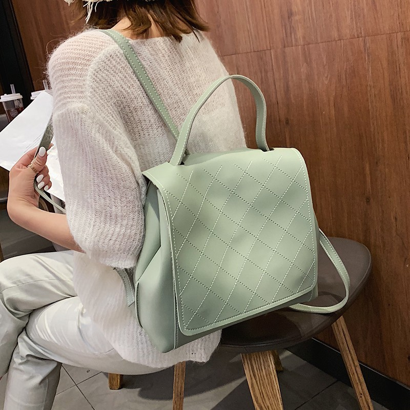 Fashion Backpack Women Soft Leather Quality Travel Backpacks Preppy Style Youth Hand Bag Female Mochila Bookbag Bagpack in Backpacks from Luggage Bags