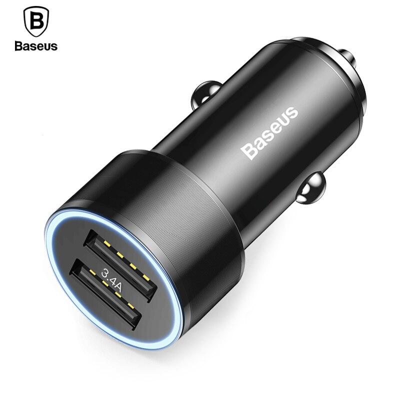 Baseus 3.4A cargador Dual del coche del USB para iPhone Samsung Xiaomi iPad 2 Port LED Car Charger cargador rápido car-cargador