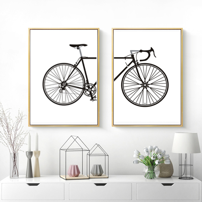 Abstrait Minimaliste Noir et Blanc Vélo Toile Nordique Peintures Affiche Imprimer Mur Art Photos Salon Home Office Decor