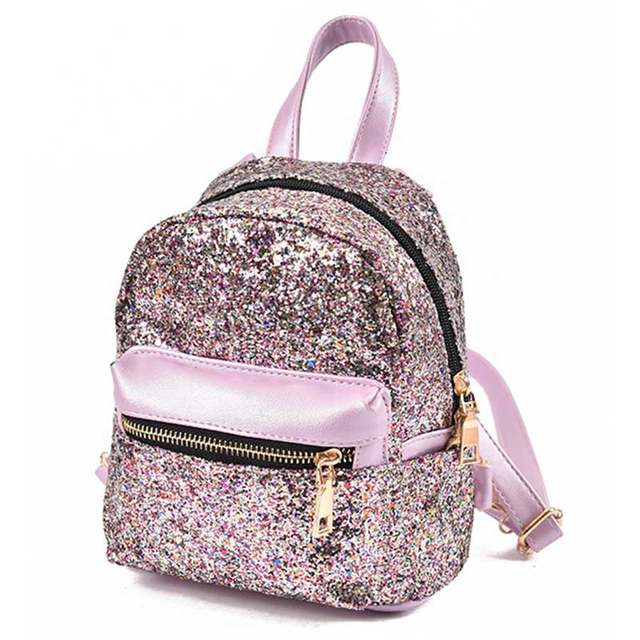 placeholder Women Glitter Backpack Small Leather Shoulder Bag Teenage Girls  Black Backpacks Fashion Shinny Rucksack Mini DayPack 38b7bc7cacc3