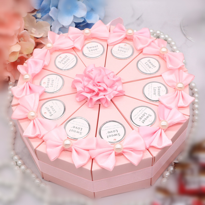 10 Pcs/set Sweet Cake Shape Boxes Wedding Candy Storage Box Food Container Gifts Paper Bag Wedding Favors Party Supplies 2 Size