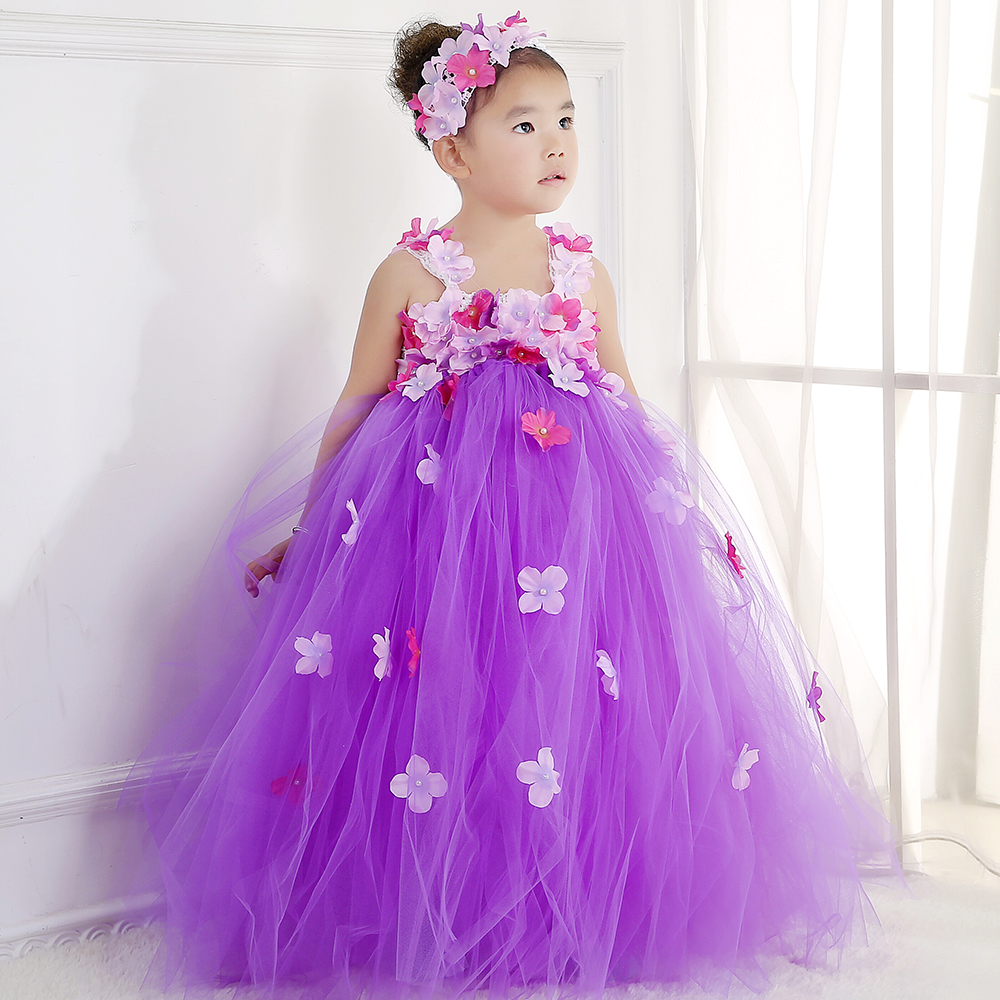 Princess Girls Tutu Dress Baby Kids Teenager Ankle Length Dresses for Wedding Party with Flower Headband Girl Prom Tulle Dresses exactly as pic red gold flower wedding girls dresses with shining flower headband pearls christmas party dress for girls pt93