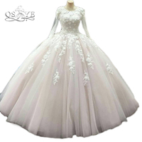 Long Sleeves Vintage Ball Gown Wedding Dresses 2016 Princess Lace Bridal Gowns 3D Flowers Sequined Vestido
